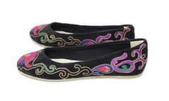 Velvet Embroidered Flats - Black