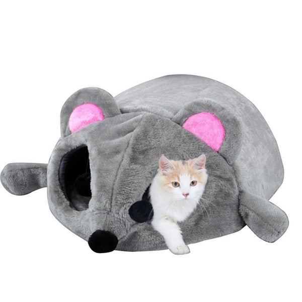 Pet Junxion 2019 New Gray Waterproof Mouse Form Bed Small Cats Dogs Cave Bed Removable Kisses Bottom Cat House Mouse For Cats House