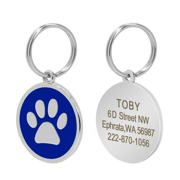 Pet Junxion accessories 3cm 018 Blue / M Engraved Metal Pet ID Tags