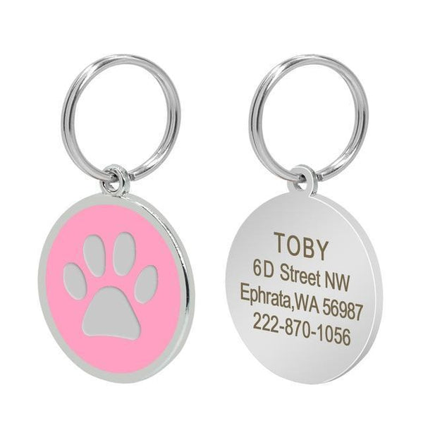 Pet Junxion accessories 3cm 018 Pink / M Engraved Metal Pet ID Tags