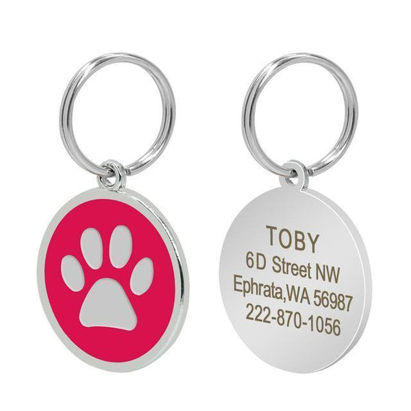 Pet Junxion accessories 3cm 018 Rose / M Engraved Metal Pet ID Tags