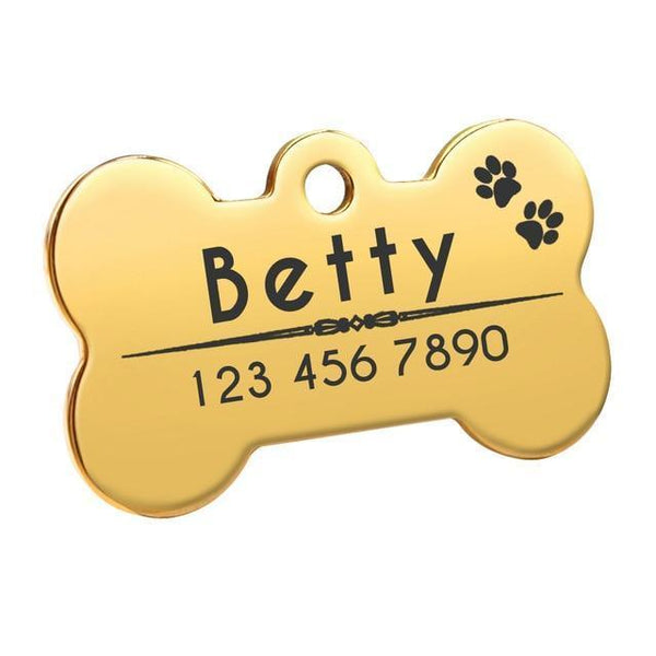 Pet Junxion accessories 4cm 011 Gold / M Engraved Metal Pet ID Tags