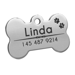 Pet Junxion accessories 4cm 011 Silver / M Engraved Metal Pet ID Tags