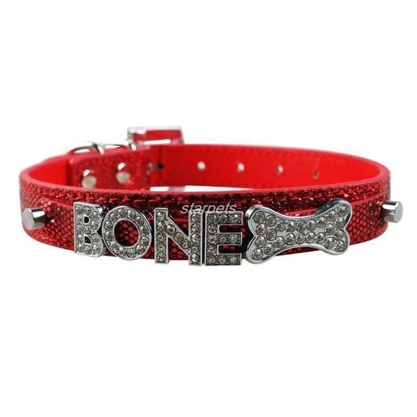 Pet Junxion accessories Red / S Bling Personalized Rhinestone Pet Collar