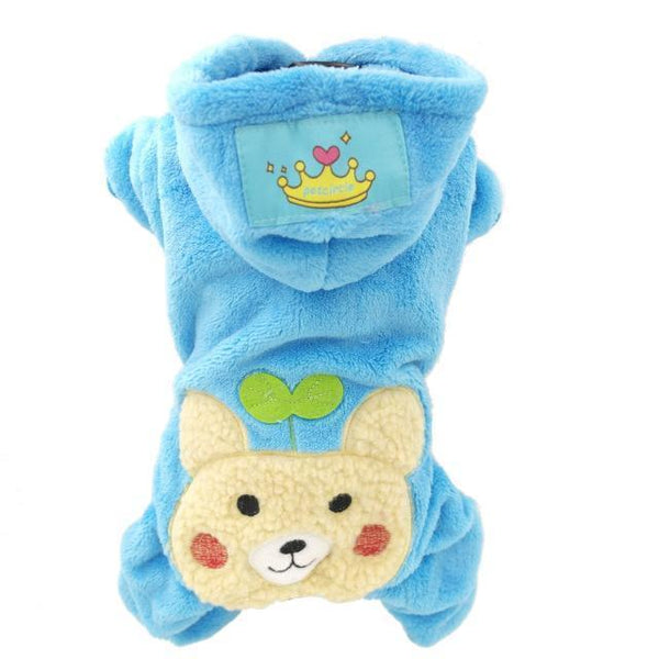 Pet Junxion clothing Blue bear / XS Chest36cm Back23 Soft Fleece Pet Overalls Small Cats and Dogs