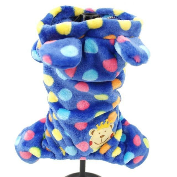 Pet Junxion clothing Blue Dots / XS Chest36cm Back23 Soft Fleece Pet Overalls Small Cats and Dogs