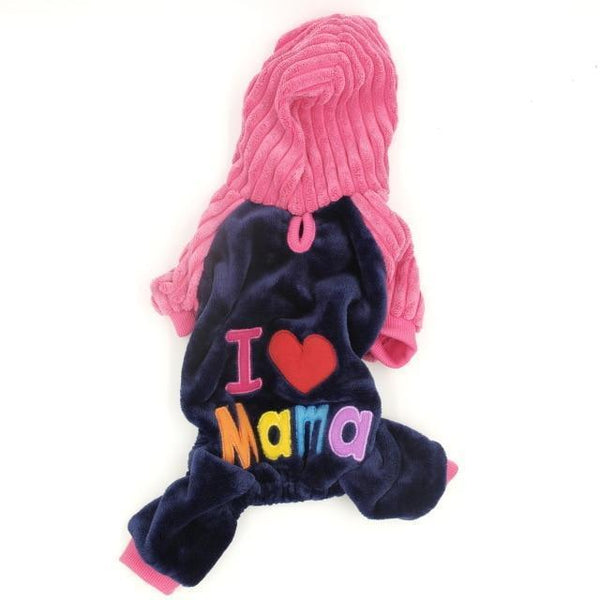 Pet Junxion clothing Love Mama / XS Chest36cm Back23 Soft Fleece Pet Overalls Small Cats and Dogs