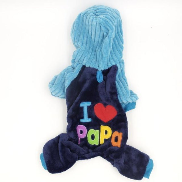 Pet Junxion clothing Love Papa / XS Chest36cm Back23 Soft Fleece Pet Overalls Small Cats and Dogs