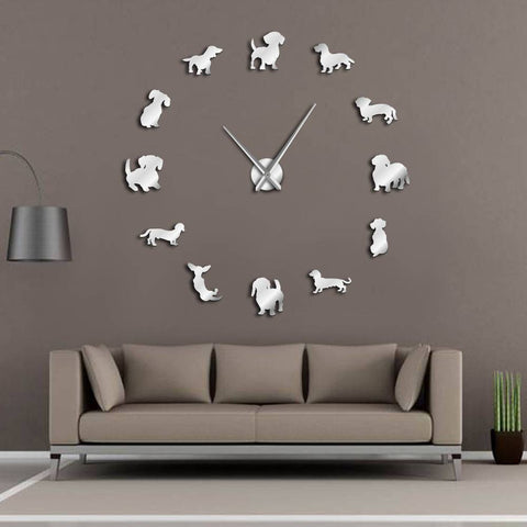 Pet Junxion gift Black / 47 Inch DIY Giant Wall Clock With Mirror Effect