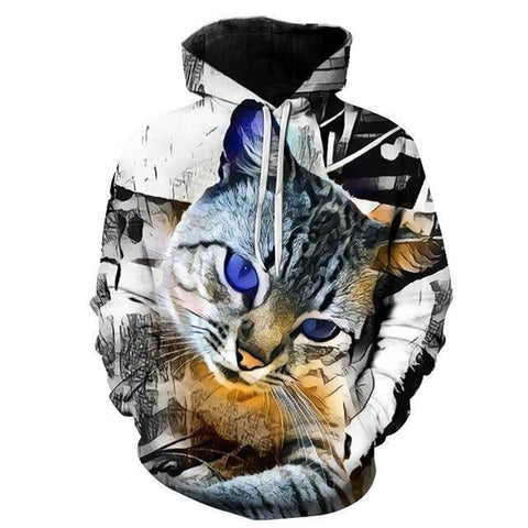 Pet Junxion gift picture color 27 / S 3D Blue Eyed Cat Hoodies