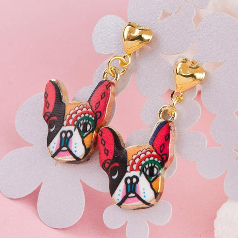 Pet Junxion jewellery Default Title Colorful Dog Gold Color Stud Earrings