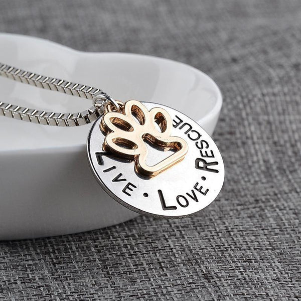 Pet Junxion jewellery Default Title LIVE LOVE RESCUE Gold Paw Pendant