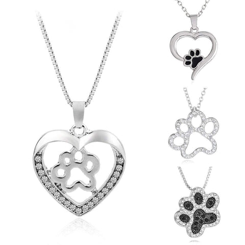 Silver Crystal Paw Print Heart Pendant