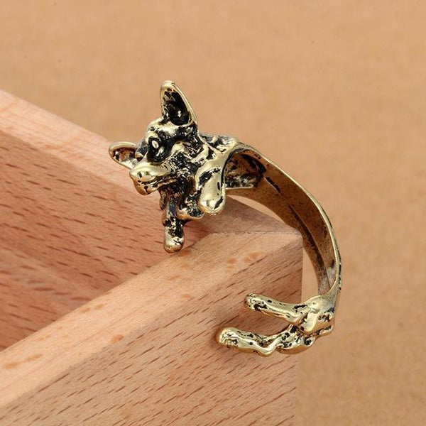 Pet Junxion ring Resizable 1 / bronze Retro Handmade Dog Wrap Ring