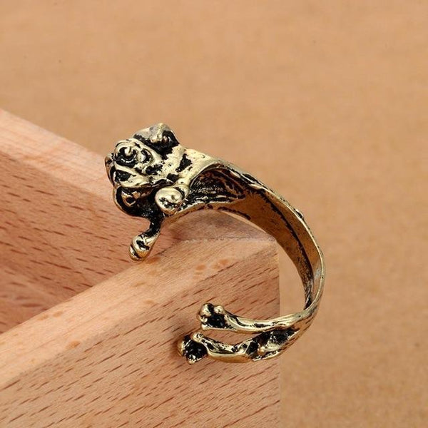 Pet Junxion ring Resizable 2 / bronze Retro Handmade Dog Wrap Ring