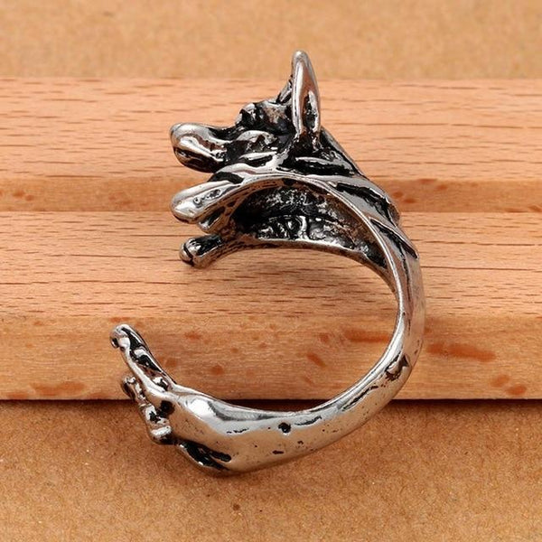 Pet Junxion ring Resizable 2 / silver Retro Handmade Dog Wrap Ring