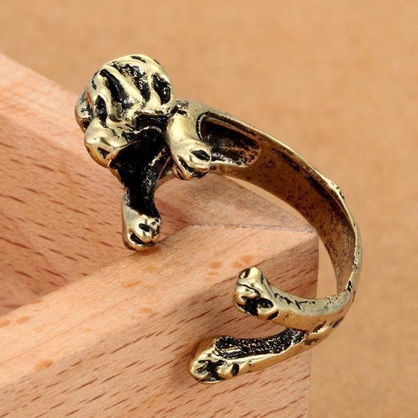 Pet Junxion ring Resizable 3 / bronze Retro Handmade Dog Wrap Ring