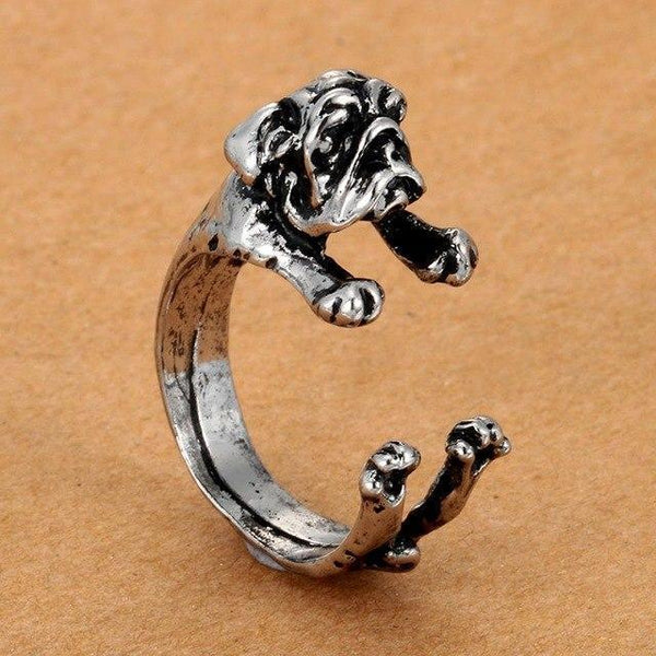 Pet Junxion ring Resizable 3 / silver Retro Handmade Dog Wrap Ring