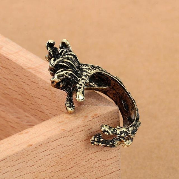 Pet Junxion ring Resizable 4 / bronze Retro Handmade Dog Wrap Ring