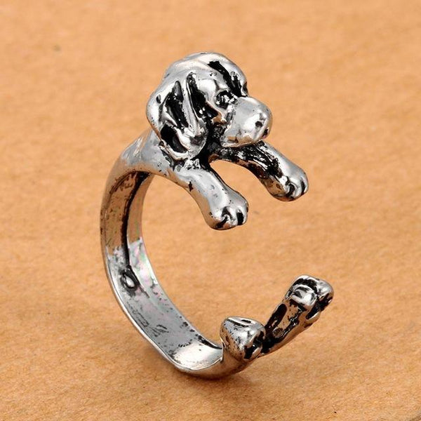 Pet Junxion ring Resizable 4 / silver Retro Handmade Dog Wrap Ring