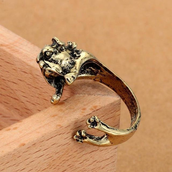 Pet Junxion ring Resizable 5 / bronze Retro Handmade Dog Wrap Ring
