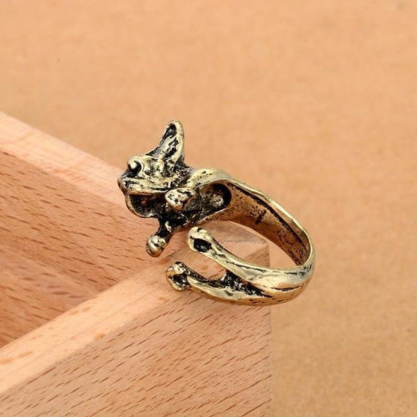 Pet Junxion ring Resizable 6 / bronze Retro Handmade Dog Wrap Ring