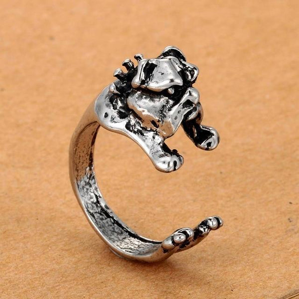 Pet Junxion ring Resizable 6 / silver Retro Handmade Dog Wrap Ring