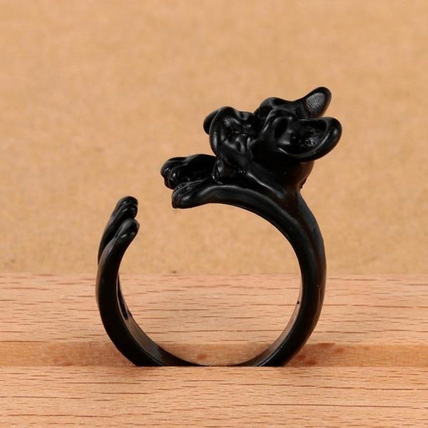 Pet Junxion ring Resizable 7 / black Retro Handmade Dog Wrap Ring