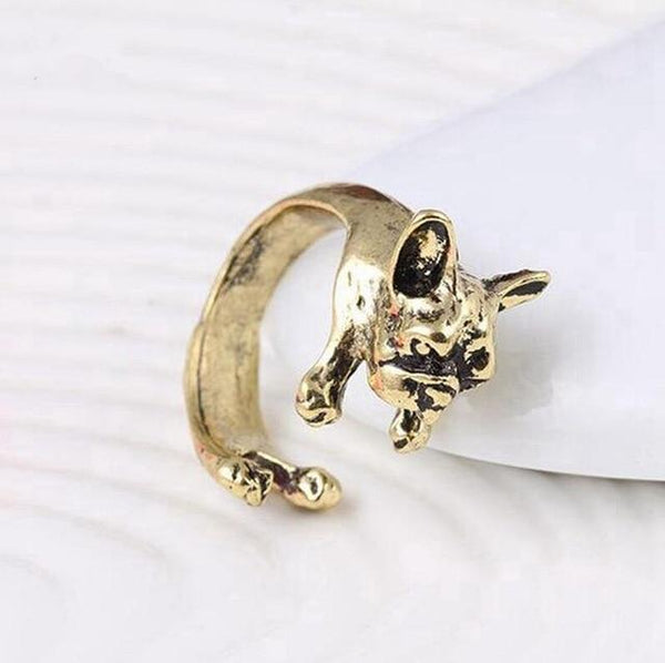 Pet Junxion ring Resizable 7 / bronze Retro Handmade Dog Wrap Ring