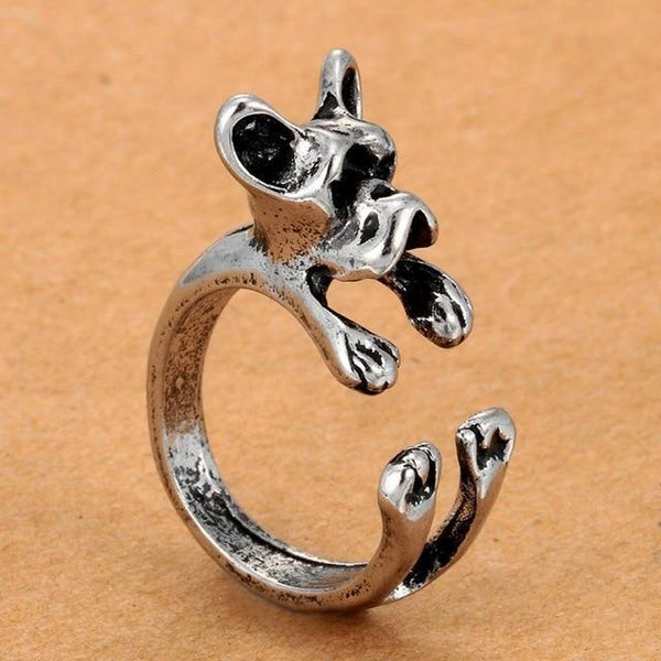 Pet Junxion ring Resizable 7 / silver Retro Handmade Dog Wrap Ring
