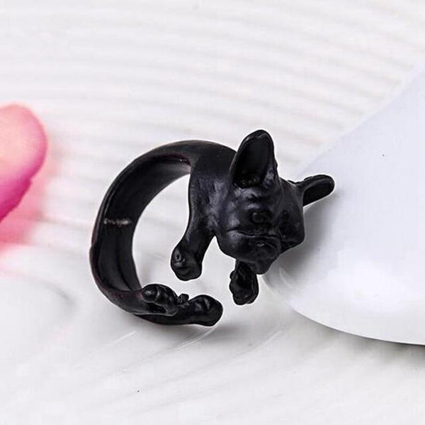 Pet Junxion ring Resizable 8 / black Retro Handmade Dog Wrap Ring