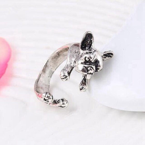 Pet Junxion ring Resizable 8 / silver Retro Handmade Dog Wrap Ring