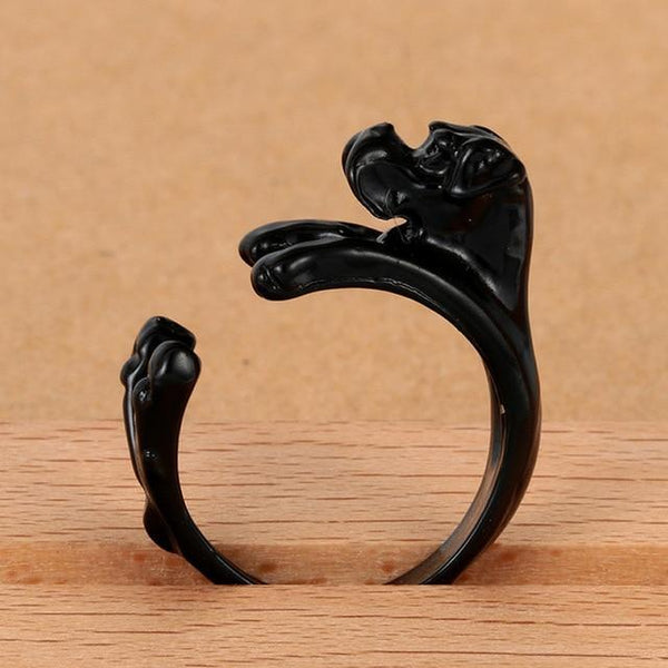 Pet Junxion ring Resizable / black Retro Handmade Dog Wrap Ring