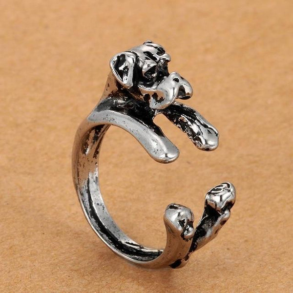 Pet Junxion ring Resizable / silver Retro Handmade Dog Wrap Ring