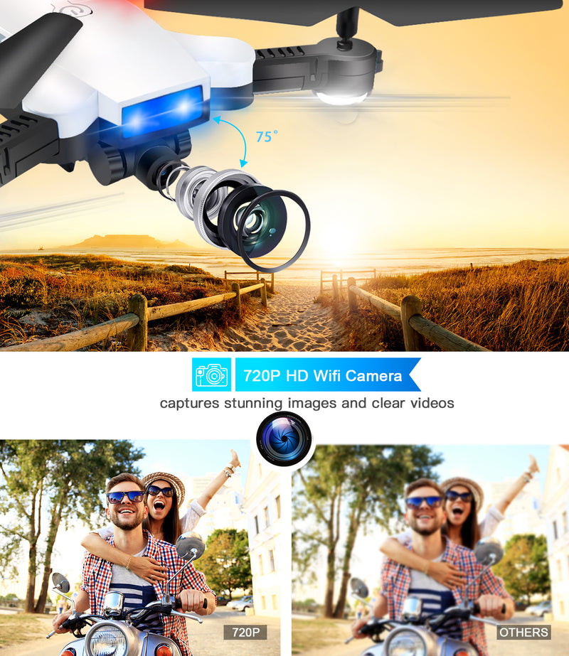 Jettime 720P Drones with Camera for Adults and Kids with Trajectory Flight,2 Lipo Batteries,360° Flip,RTH,Follow Me,Altitude Hold (SR926)