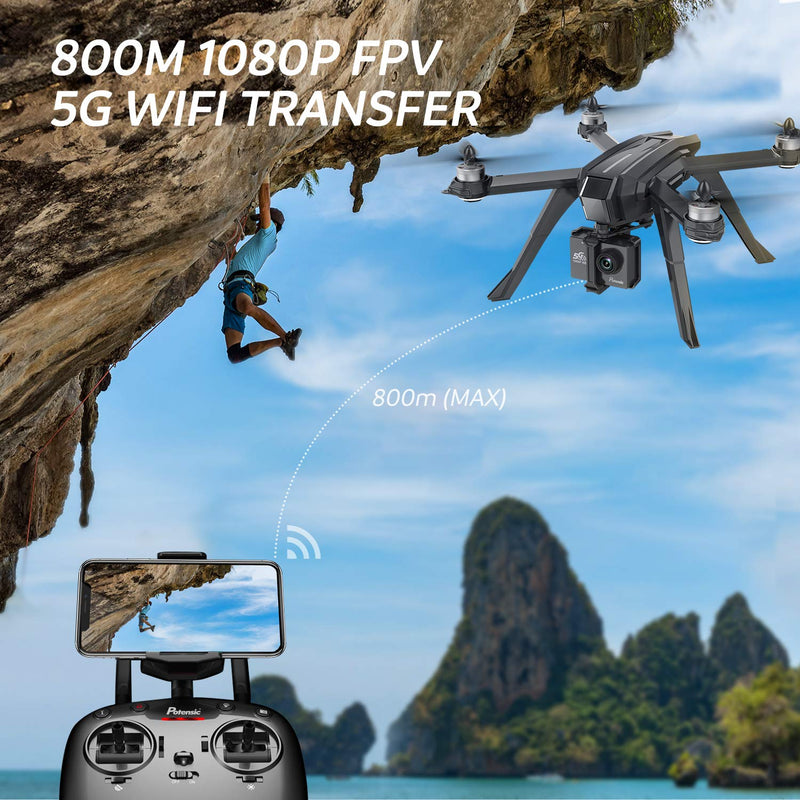 Jettime Drone GPS, Auto Return Home with 1080P HD Camera 5G FPV Live Video, Potensic D85 RC Quadcopter for Adults, GPS Follow Me, Brushless Altitude Hold, Sport Camera