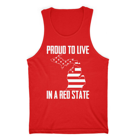 Proud To Live In A Red State - Michigan Mens Apparel