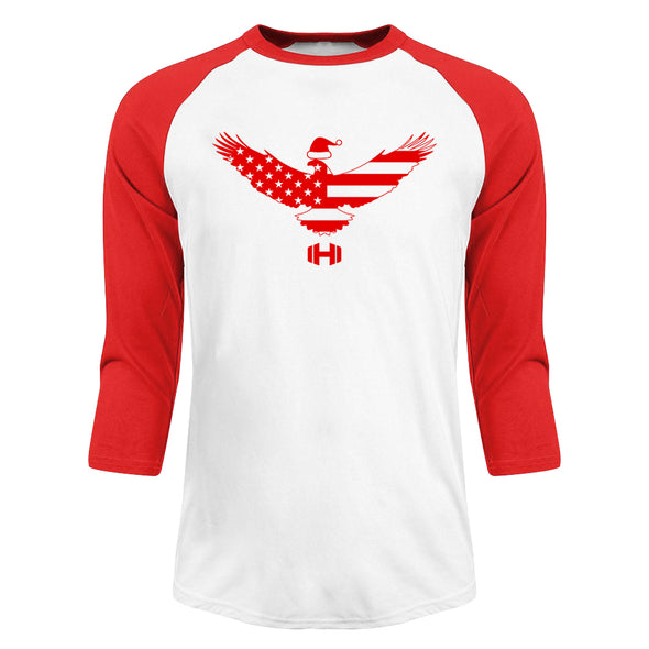 USA Flag Eagle Christmas Raglan