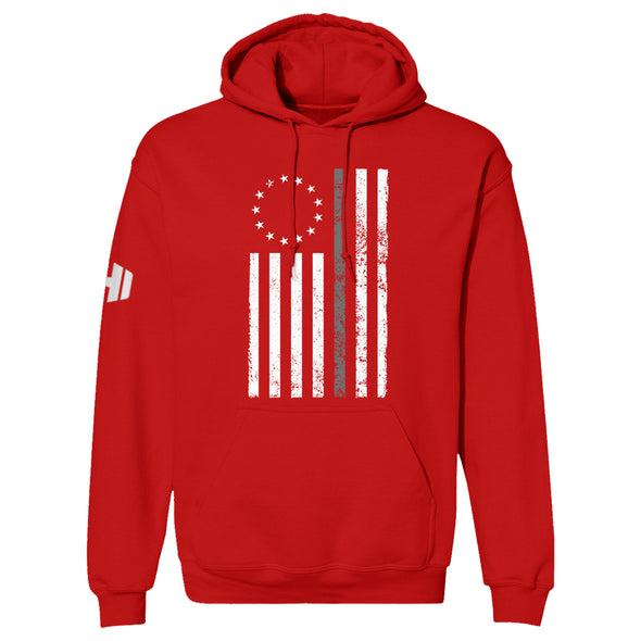 Betsy Ross Distressed Thin Silver Line Hoodie