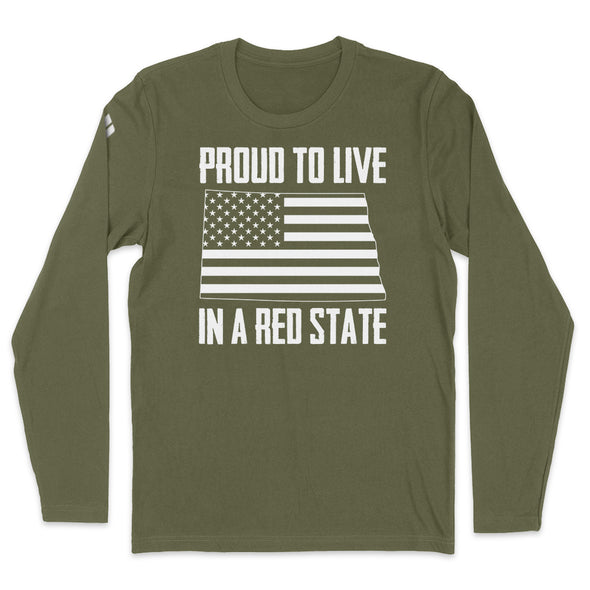 Proud To Live In A Red State - North Dakota Mens Apparel
