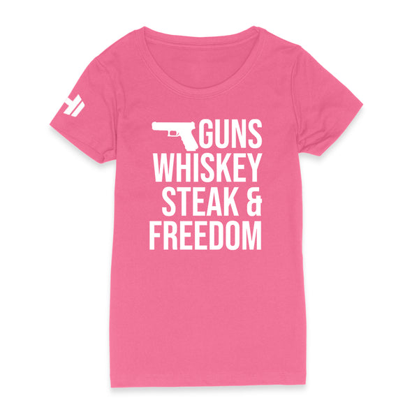 Guns Whiskey Steak And Freedom Womens Apparel