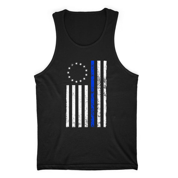 Betsy Ross Distressed Thin Blue Line Mens Apparel