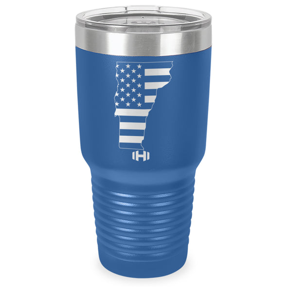 Vermont USA Flag Laser Etched Tumbler