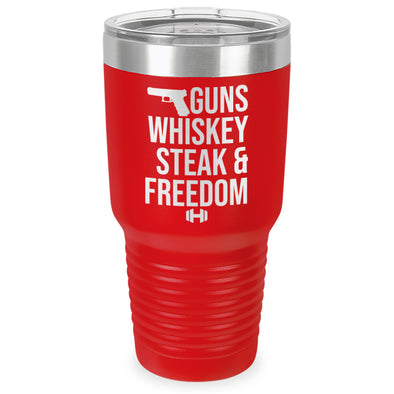 Guns Whiskey Steak And Freedom Laser Etched Tumbler (30oz)