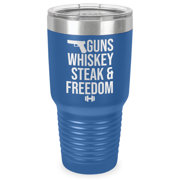 Guns Whiskey Steak And Freedom Laser Etched Tumbler