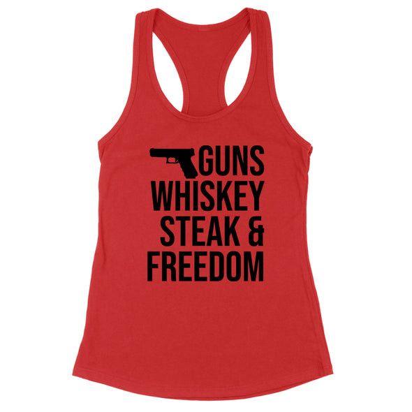 Guns Whiskey Steak And Freedom Black Print Womens Apparel
