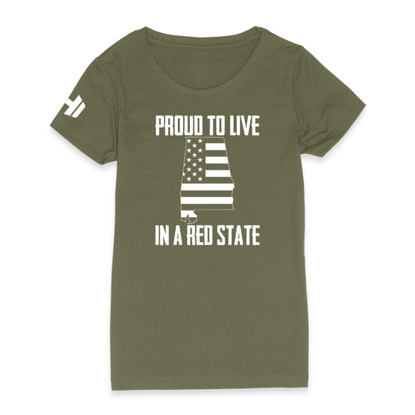 Proud To Live In A Red State - Alabama Womens Apparel