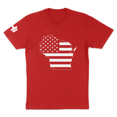 Wisconsin USA Flag Mens Apparel