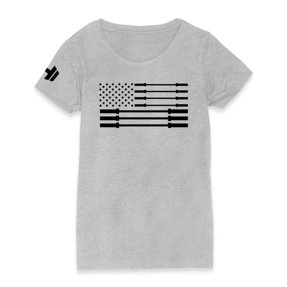 Star Barbell Flag Black Print Womens Apparel