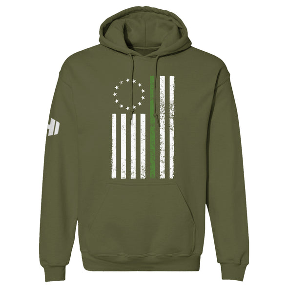 Betsy Ross Distressed Thin Green Line Hoodie